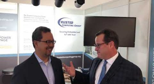 Patrick Hopper talks with Keao Caindec with Mocana about Trusted Computing Group at electronica 2018