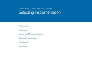 Fundamentals of Building a Test System: Selecting Instrumentation